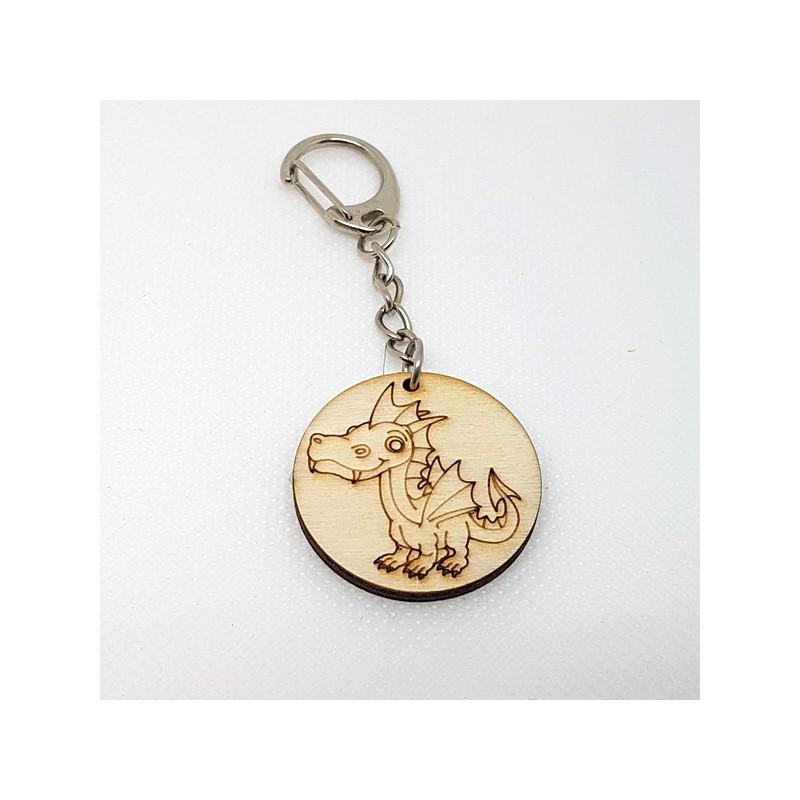 Porte-clefs Dragon enfantin en bois à décorer ou pas sur porte clef mousqueton métal