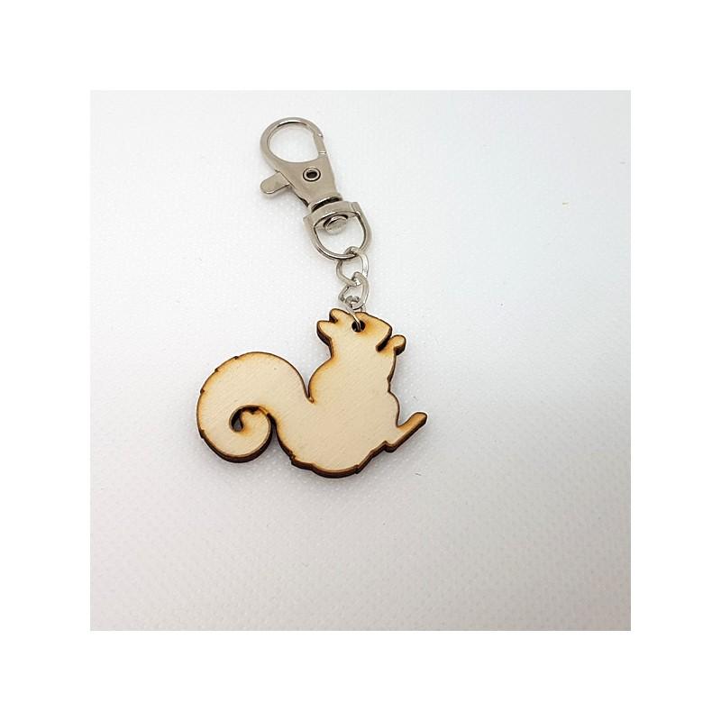 Porte-clef écureuil de profil en bois à décorer ou pas avec mousqueton métal