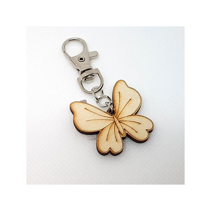Porte-clef papillon en bois à décorer ou pas avec mousqueton