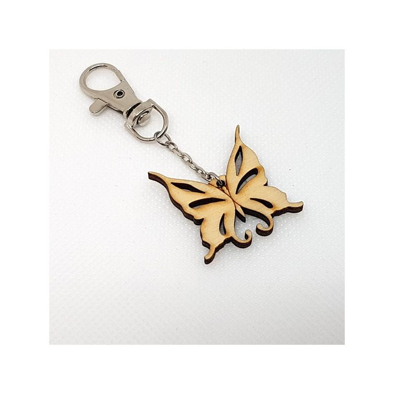 Porte clés papillon évidé en bois à décorer ou pas avec mousqueton