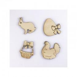 lapin, oeuf, poule, panier Pâques en bois, sujet pour Pâques à décorer ou pas