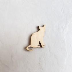 Chat assis sans moustache décor bois fabriqué en France