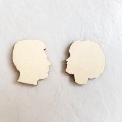2 profils visage jeune couple homme et femme décoration bois - modele 2