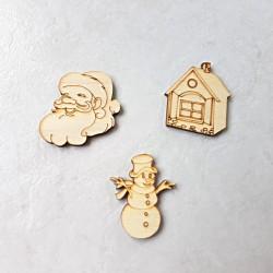 3 Décors de Noël en bois Maison d'hiver, Père Noël et bonhomme de neige à décorer ou pas
