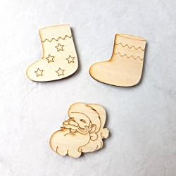 3 Décors Noël bois botte frise, botte étoile et Père Noë à décorer ou pas
