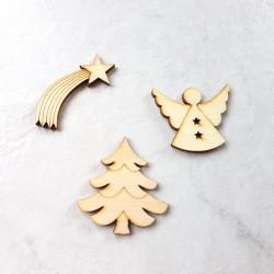 3 Décors Noël bois étoile...