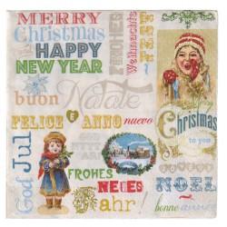 Serviette Joyeux Noël bonne année multiligue avec décor textes, filles, train vapeur... style années 50, tons de Noël