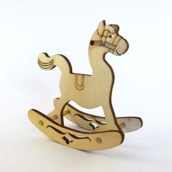 Cheval à bascule miniature 3D en bois