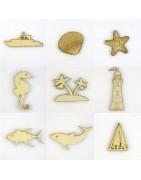 Thème marin, objets en bois pour scrapbooking et loisirs créatifs