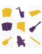 Instruments de musique en feutrine découpé et gravé