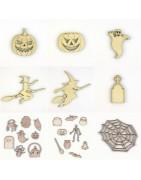 Objets en bois découpé et gravé pour Halloween