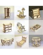 Meubles miniatures en bois et modèles réduits en 3 D pour les loisirs créatifs